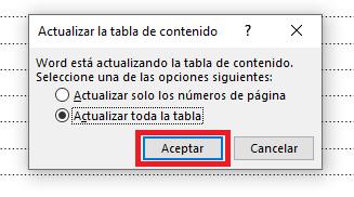 Recuadro para actualizar toda la tabla de contenido en Word