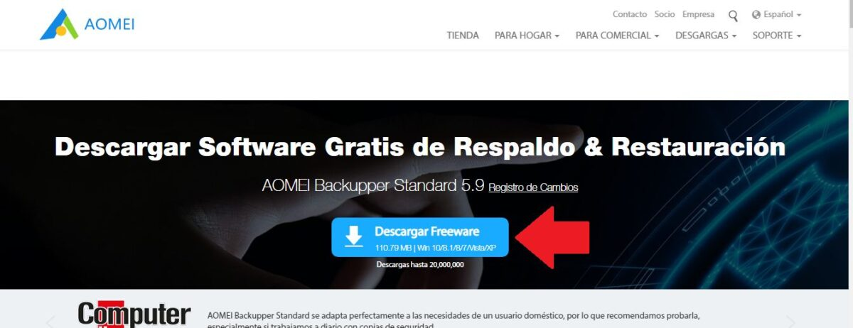 Descargar AOMEI backupper para clonar disco duro