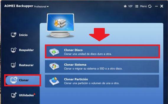 clonar disco desde backupper aomei para pasarlo a ssd