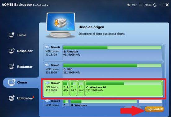 seleccionar disco duro con sistema operativo a clonar el backupper aomei