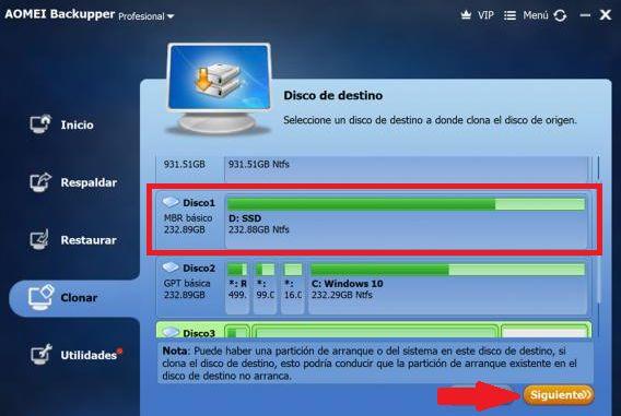 elegir disco solido para pegar sistema operativo desde clon disco duro
