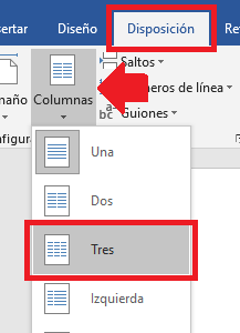 elegir 3 columnas en word