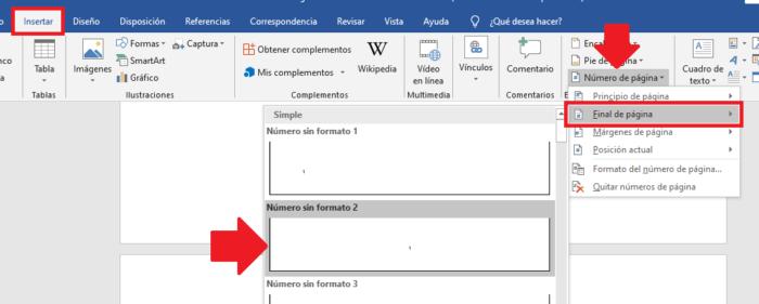 Insertar numeración de páginas en Word