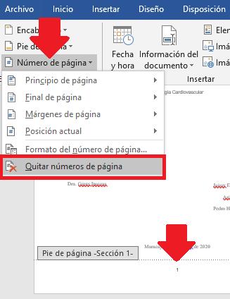 opción de quitar números de página