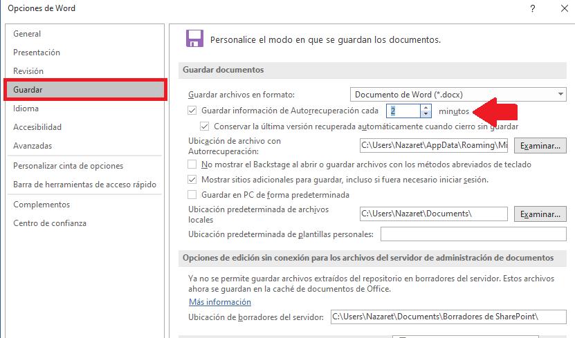 Configuraciones de autorecuperacion documento word