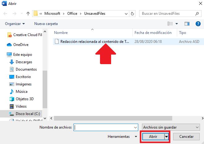 seleccionar documento archivado sin guardar desde word office