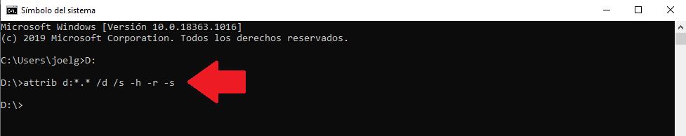 comando para eliminar virus de unidad usb desde cmd simbolo de sistema
