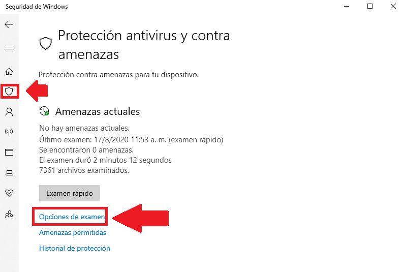opciones de examen eliminar virus acceso directo windows defender