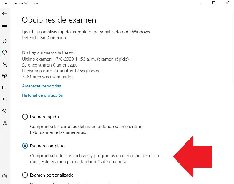 analisis completo eliminar virus de acceso directo windows 10