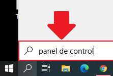 abrir panel de control desde el buscador de windows 10