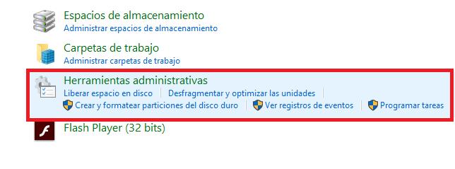 herramientas administrativas de windows 10