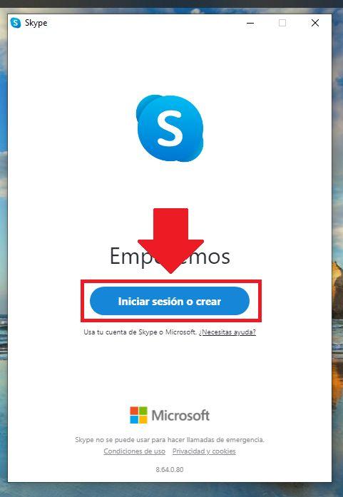 Iniciar sesión en skype