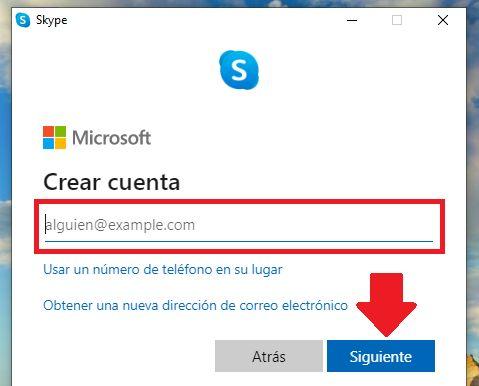crear cuenta de skype con correo electronico