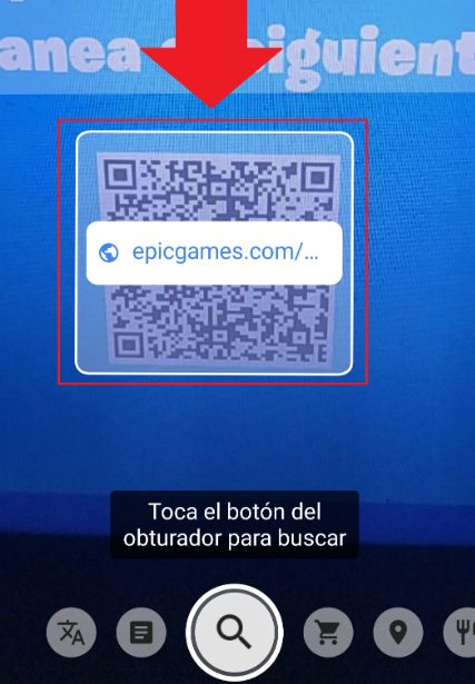 escanear codigo QR descargar instalador de epicgames fortnite
