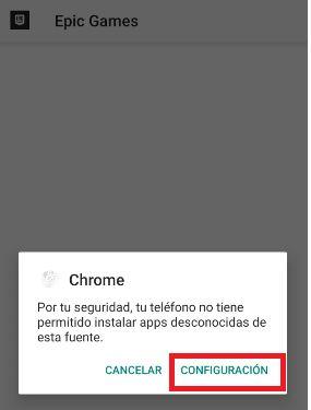 configuracion descargar apk fortnite en android desde chrome