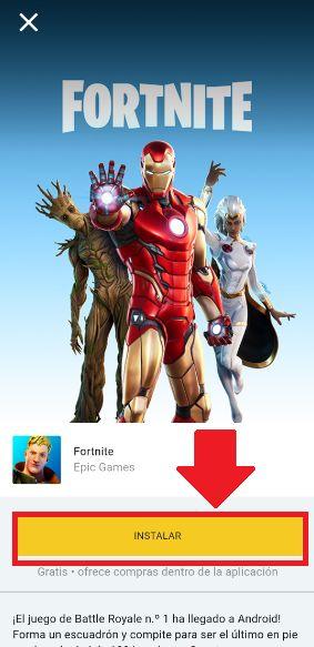 instalar y descargar juego fortnite desde la tienda epic games en android