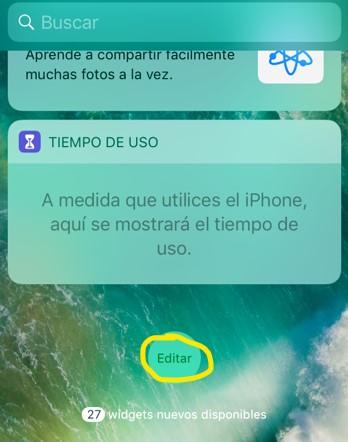"""Botón """"editar"""" de la página de widgets del iPhone."""