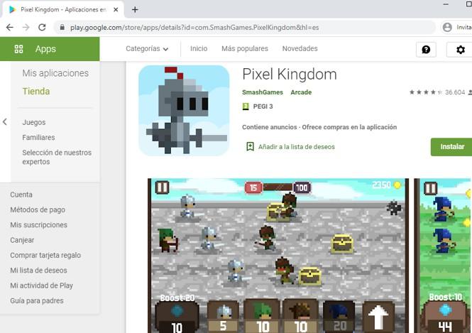 Página de Pixel Kingdom en el Google Play Store.
