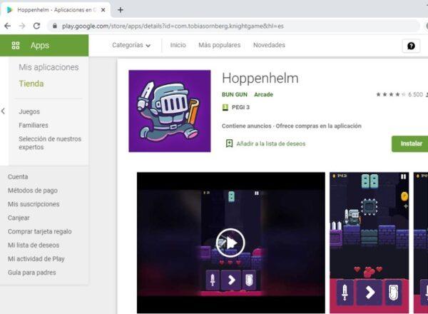 Página de Hoppenhelm en el Google Play Store.