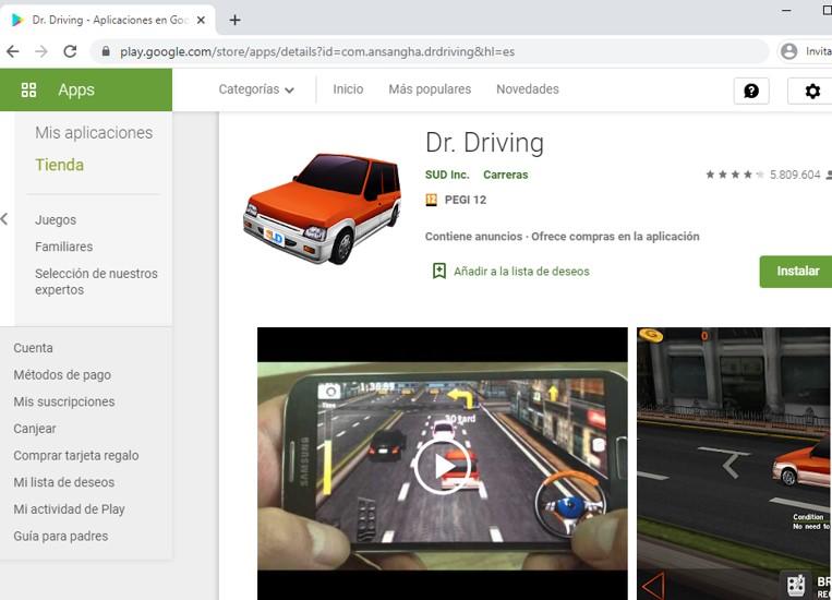 Página de Dr. Driving en el Google Play Store.
