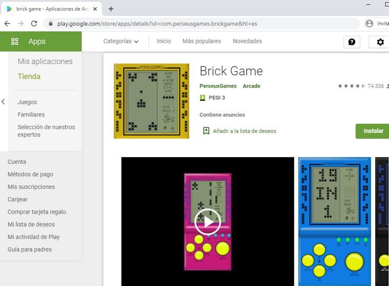 Página de Brick Game en el Google Play Store.