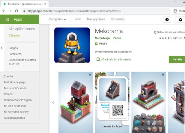 Página de Mekorama en el Google Play Store.