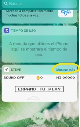 """Botón """"mostrar más"""" del juego """"Steve"""" en la sección de widgets."""