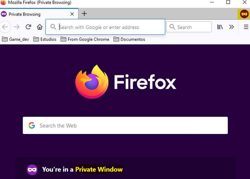 Firefox en modo de incógnito.