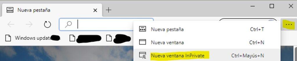 "Opción ""nueva ventana InPrivate"" de Microsoft Edge."