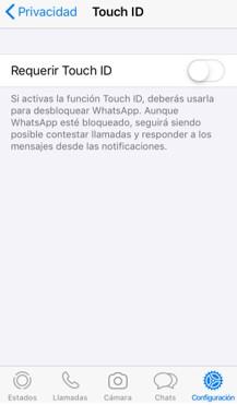"""Opción """"Touch ID"""" dentro de la opción """"privacidad""""."""