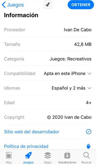 """Página de """"Steve"""" en la App Store que muestra cuánto espacio ocupa."""