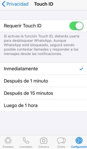 """Opción """"Requerir Touch ID"""" activada."""