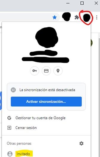 "Opción ""invitado"" de Google Chrome."