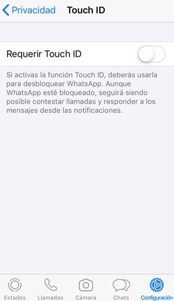 """Opción """"Requerir Touch ID"""" desactivada."""