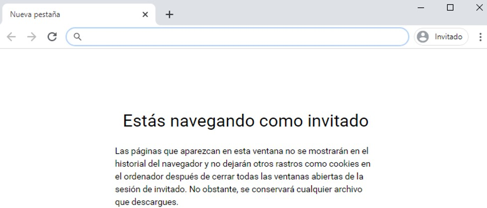 Modo invitado en Google Chrome.