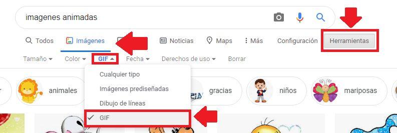 descargar gifs en google imagenes