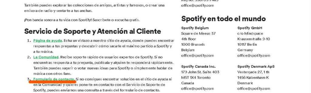Formulario de contacto de spotify