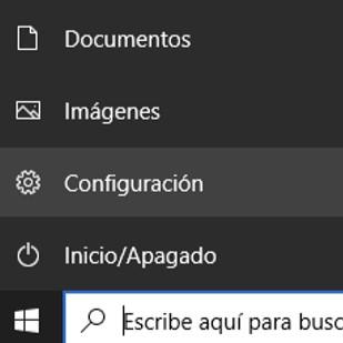 Botón de configuración de Windows.