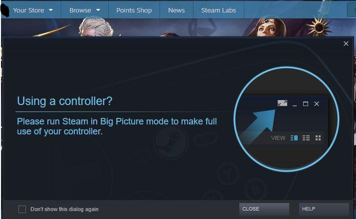 Ventana de Steam cuando conectas un mando.