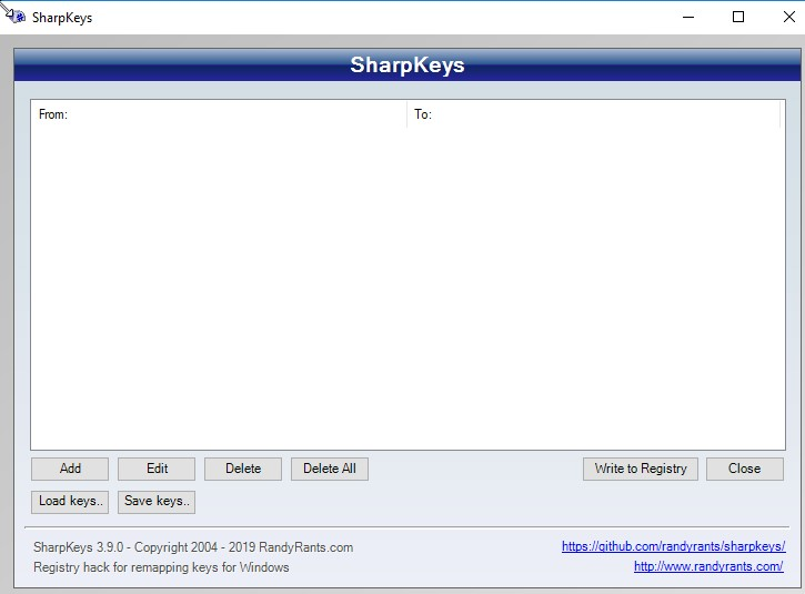 El programa SharpKeys abierto.