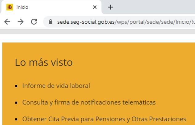 """Enlace a """"Obtener cita previa para pensiones y otras prestaciones""""."""