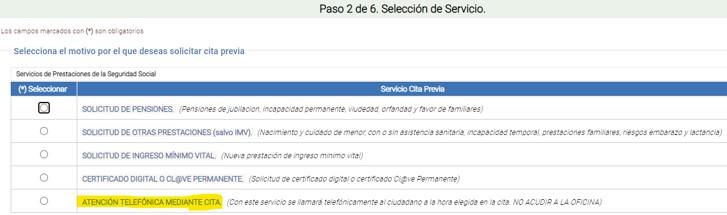 Formulario para elegir el tipo de trámite a realizar en las oficinas de la seguridad social.