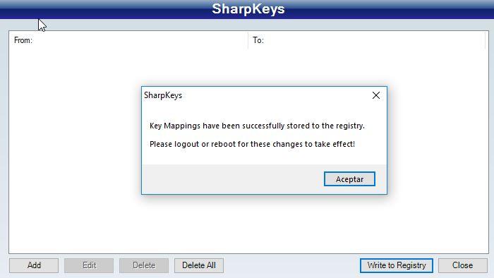 SharpKeys sin ninguna tecla reasignada.