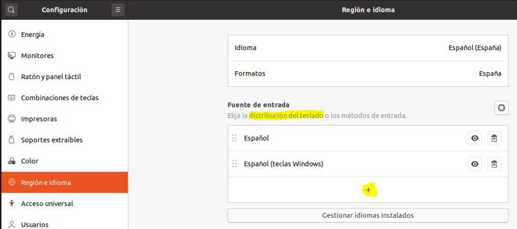 """Configuración de la fuente de entrada dentro de """"región e idioma""""."""