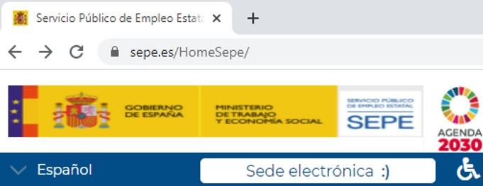 """Enlace a """"sede electrónica"""" en el sitio web del SEPE."""