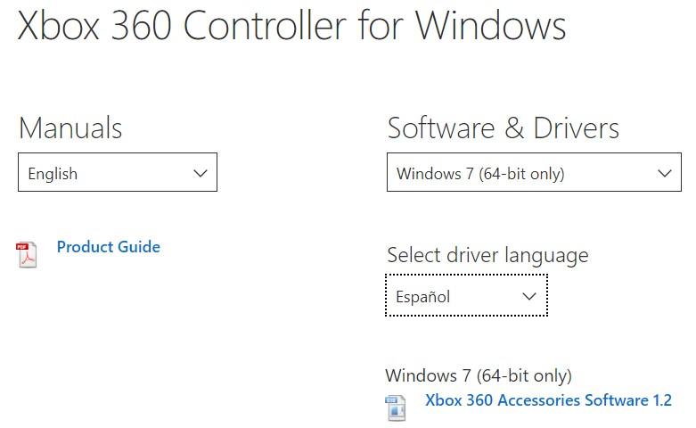 Página web del controlador del mando con cables de Xbox 360.