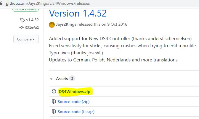 "Enlace para descargar ""DS4Windows.zip"" en GitHub."