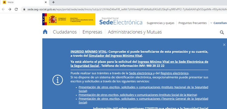 Página web de la seguridad social.