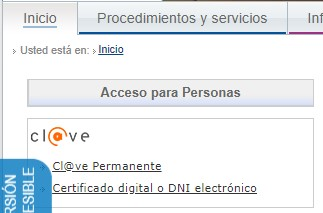 """Enlace a """"certificado digital o DNI electrónico"""" para iniciar sesión en la sede electrónica."""
