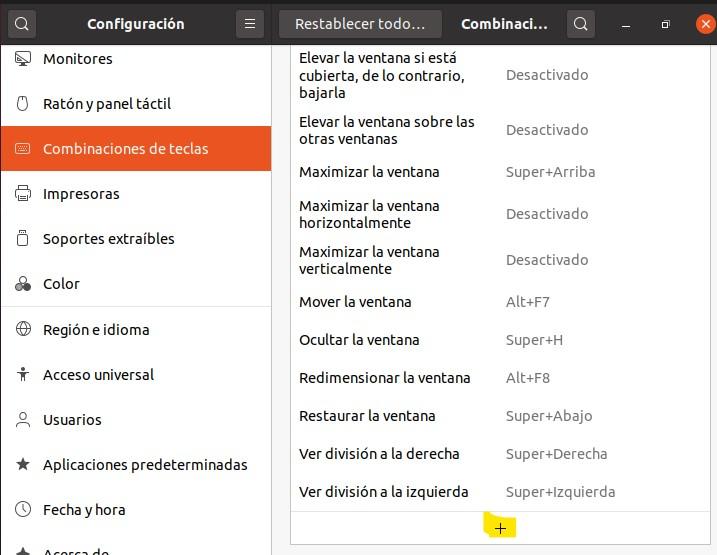 Lista de combinaciones de teclas en el menú de configuración.